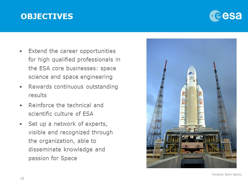 OBJECTIVES Extend the career opportunities for high qualified professionals in the ESA core businesses: space science and space engineering.