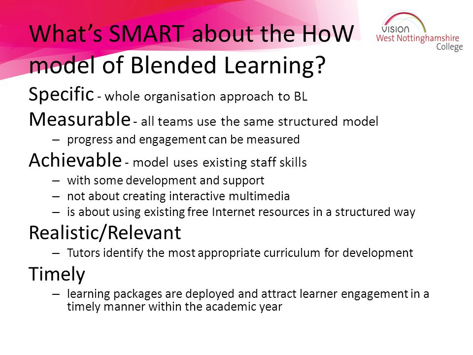 What's SMART about the HoW model of Blended Learning