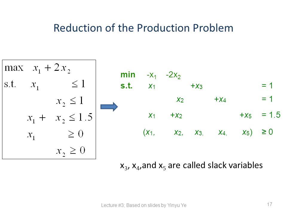 Reduction of the Production Problem