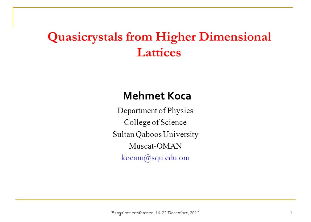 Quasicrystals from Higher Dimensional Lattices