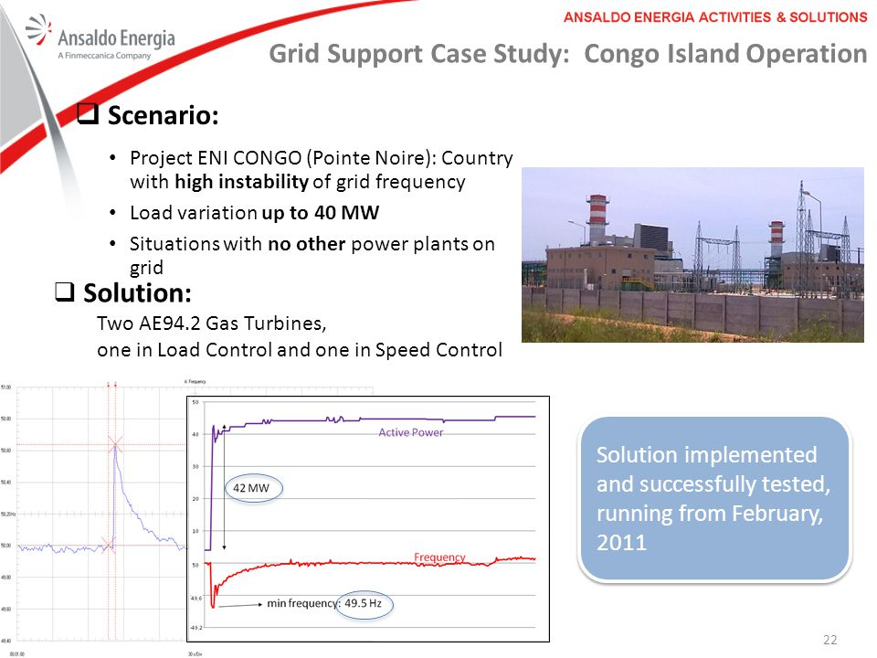 Grid Support Case Study: Congo Island Operation