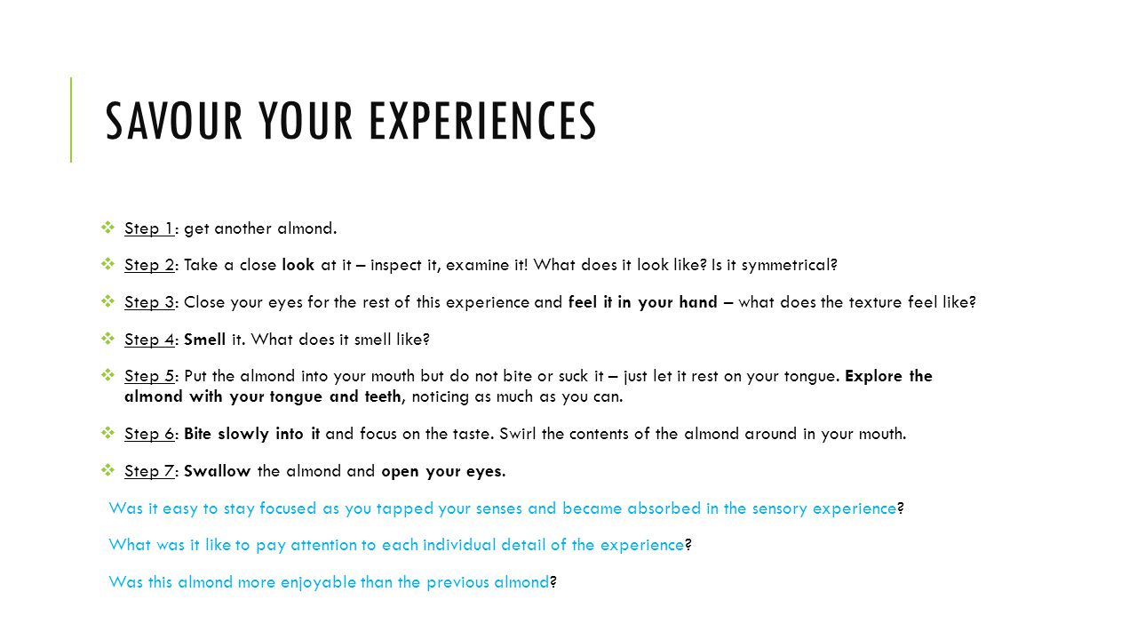 Savour your experiences