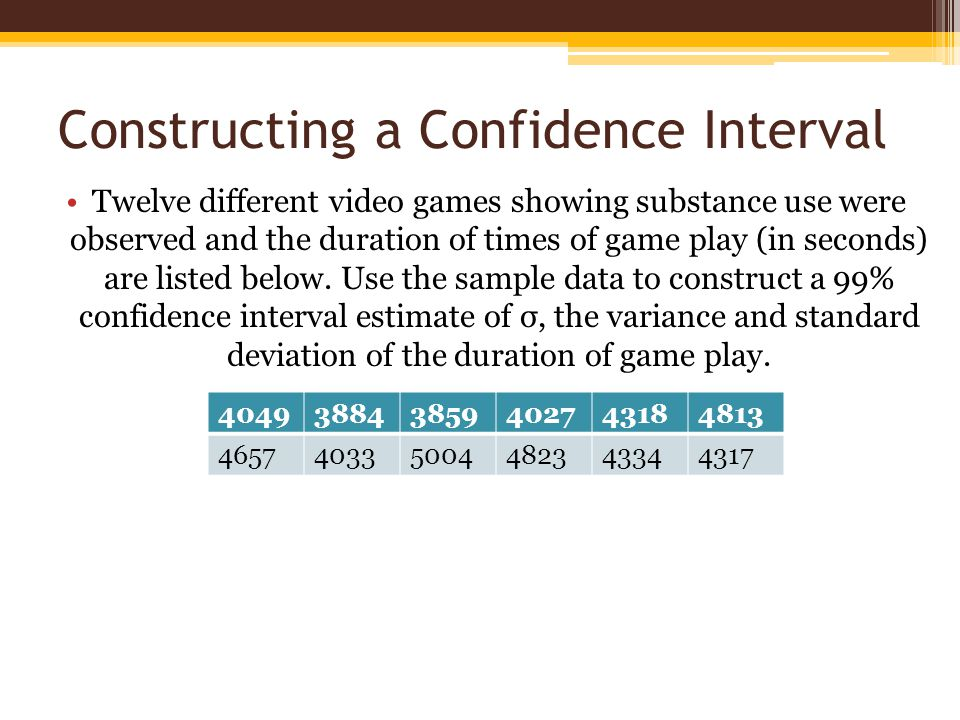 Constructing a Confidence Interval