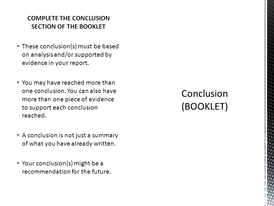 COMPLETE THE CONCLUSION SECTION OF THE BOOKLET