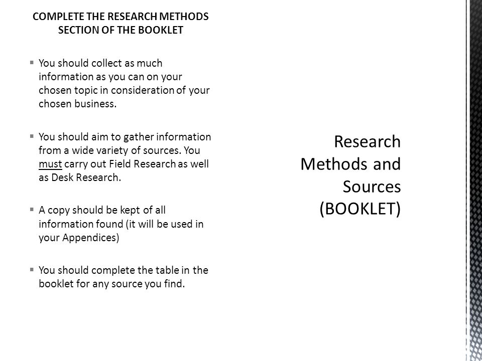 Research Methods and Sources (BOOKLET)