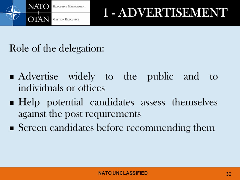 1 - ADVERTISEMENT Role of the delegation: