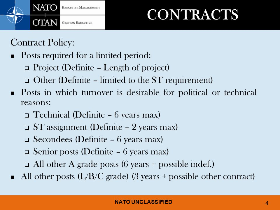 CONTRACTS Contract Policy: Posts required for a limited period: