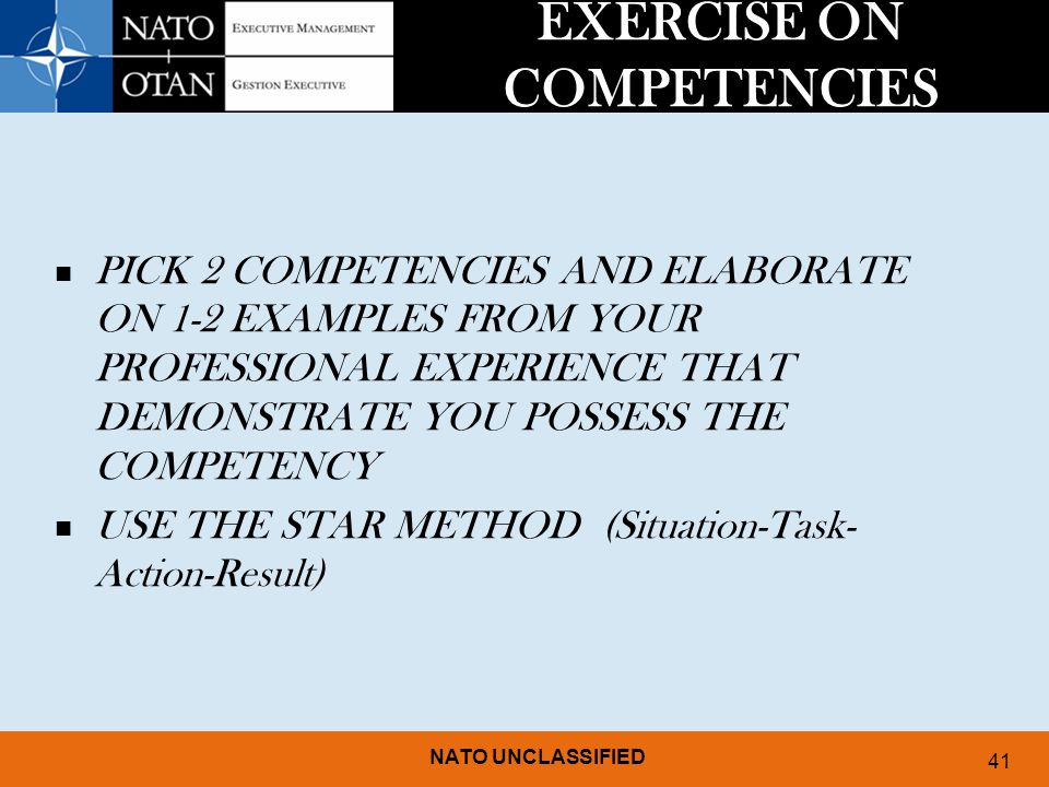 EXERCISE ON COMPETENCIES