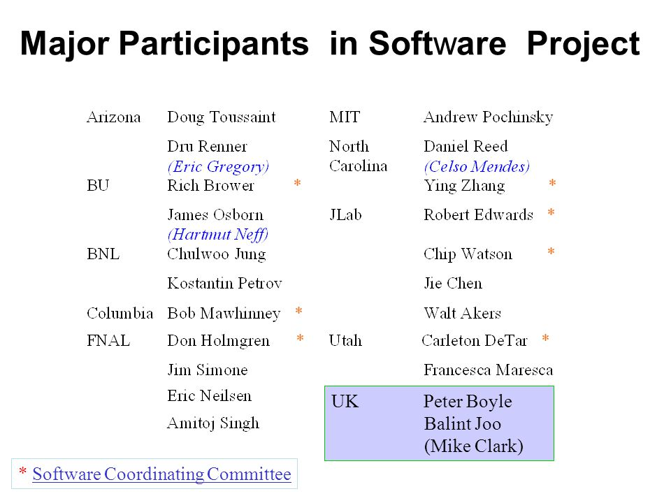Major Participants in Software Project