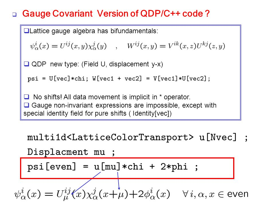 Gauge Covariant Version of QDP/C++ code