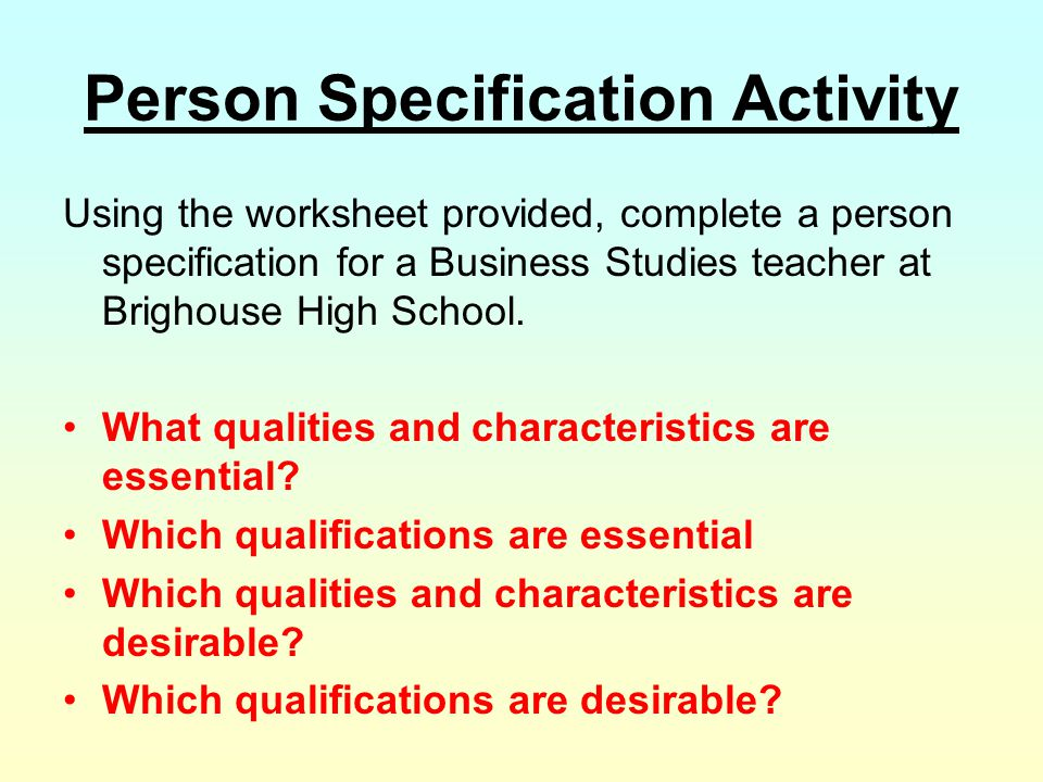 Person Specification Activity