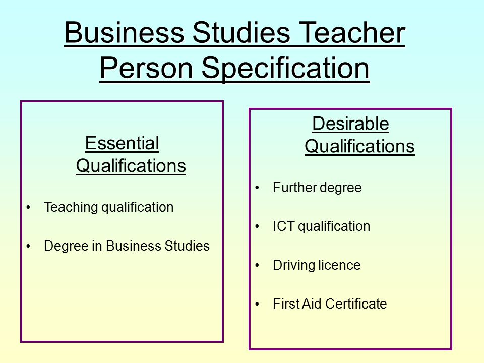 Business Studies Teacher Person Specification