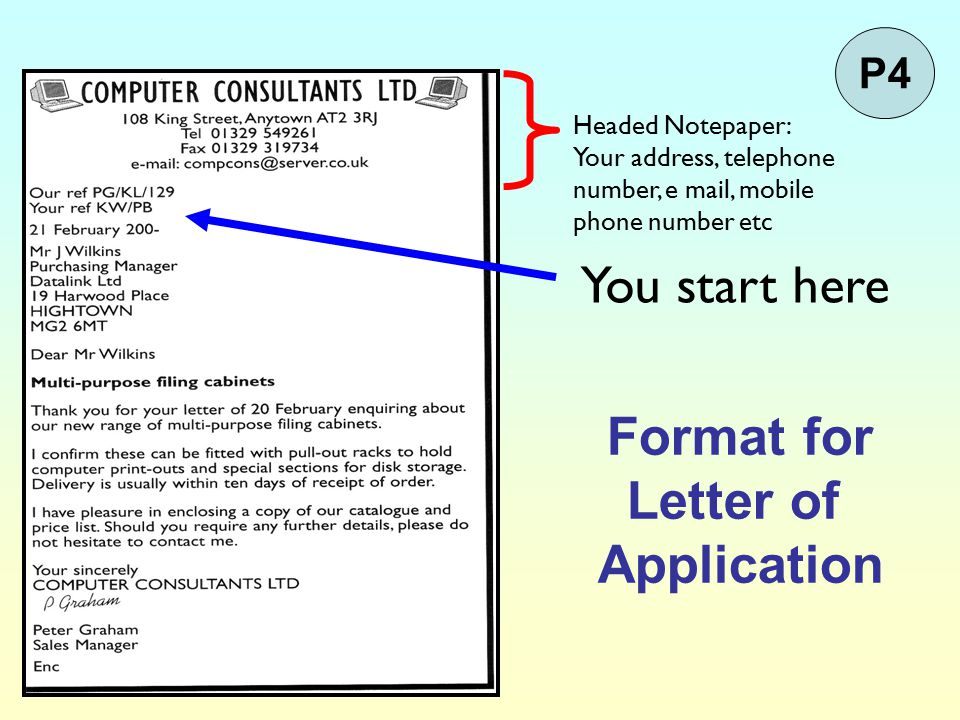 Format for Letter of Application