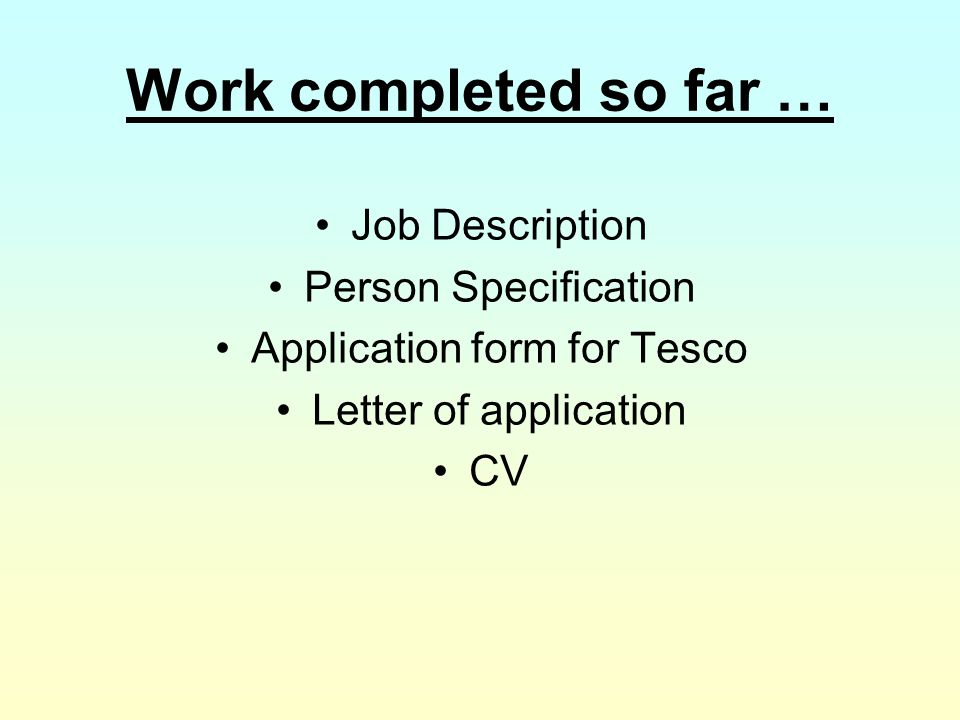 Application form for Tesco
