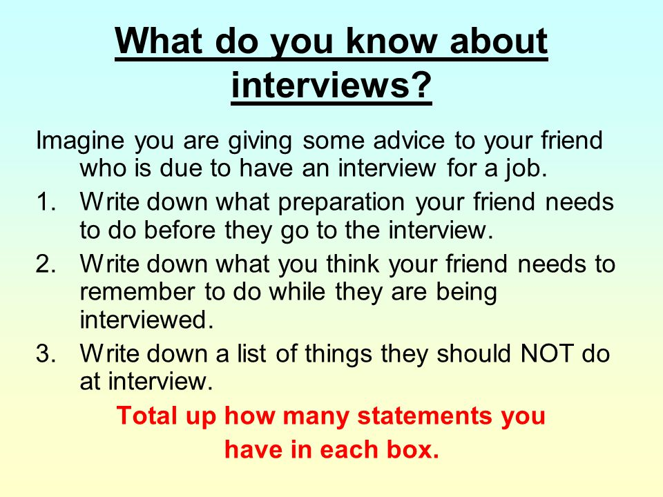What do you know about interviews