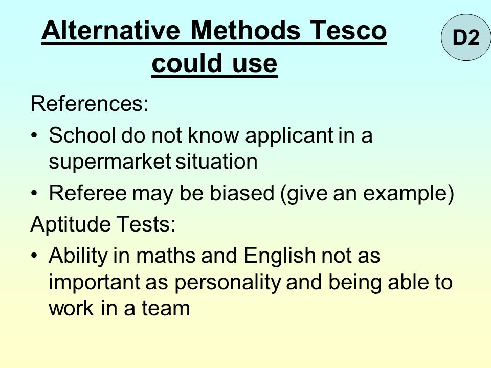 Alternative Methods Tesco could use