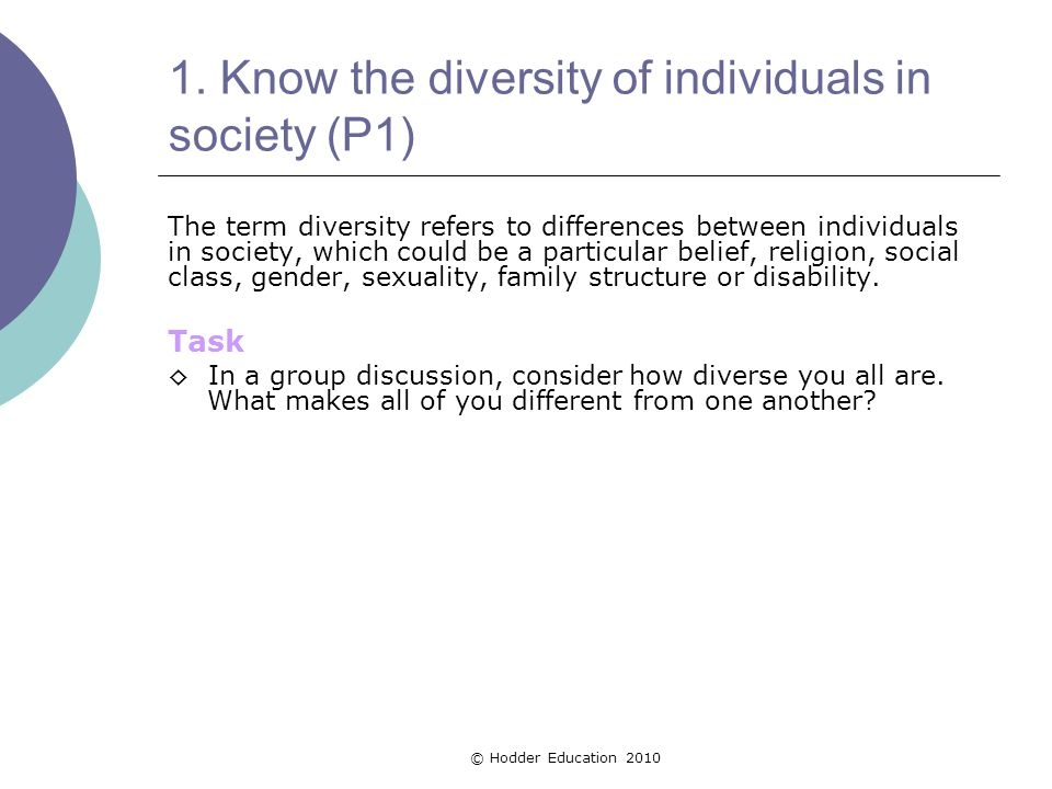 1. Know the diversity of individuals in society (P1)