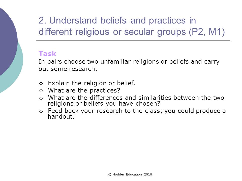 2. Understand beliefs and practices in different religious or secular groups (P2, M1)
