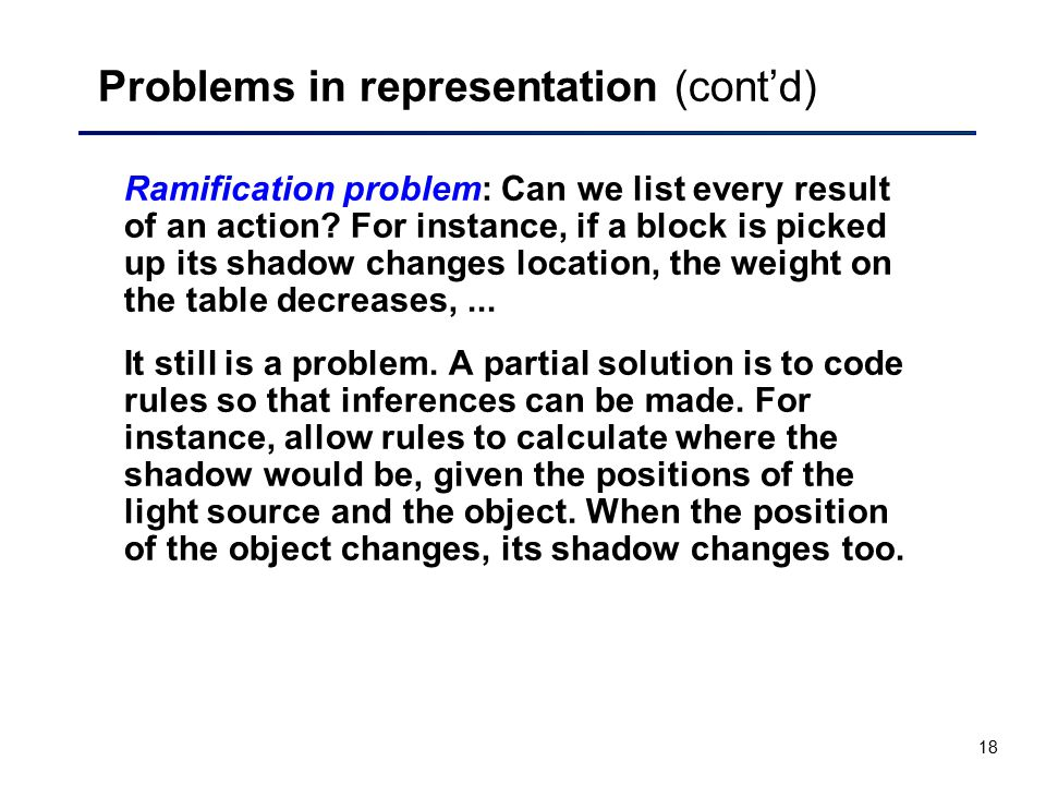 Problems in representation (cont'd)
