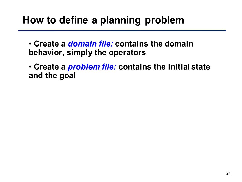 How to define a planning problem