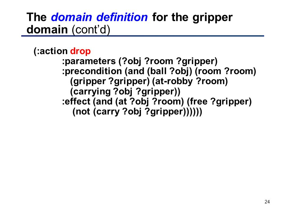 The domain definition for the gripper domain (cont'd)