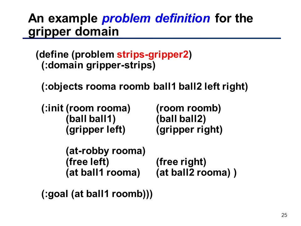 An example problem definition for the gripper domain