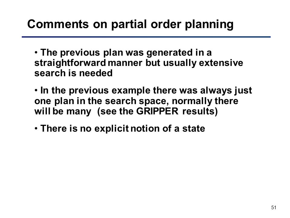 Comments on partial order planning