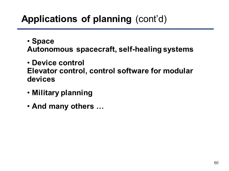 Applications of planning (cont'd)