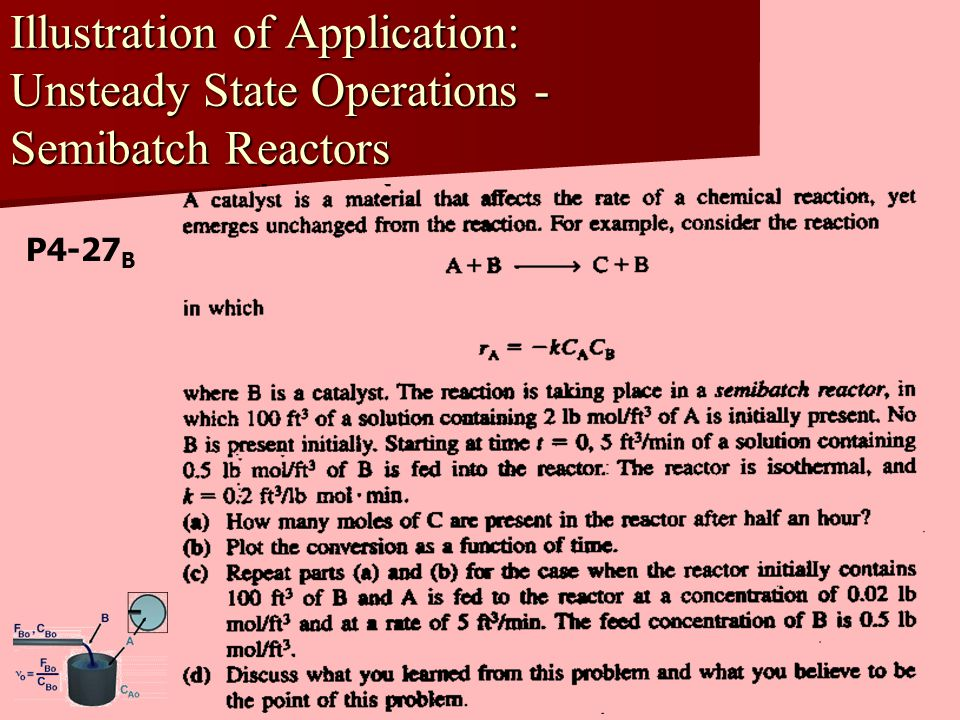 Illustration of Application: Unsteady State Operations -Semibatch Reactors