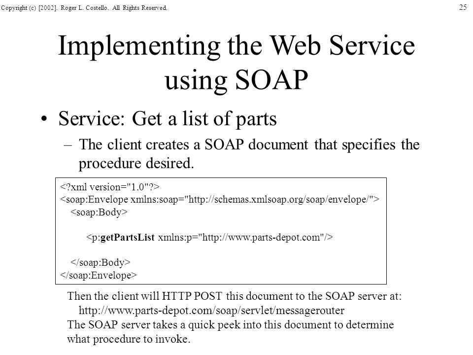 Implementing the Web Service using SOAP