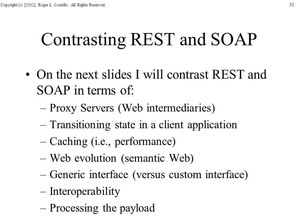 Contrasting REST and SOAP