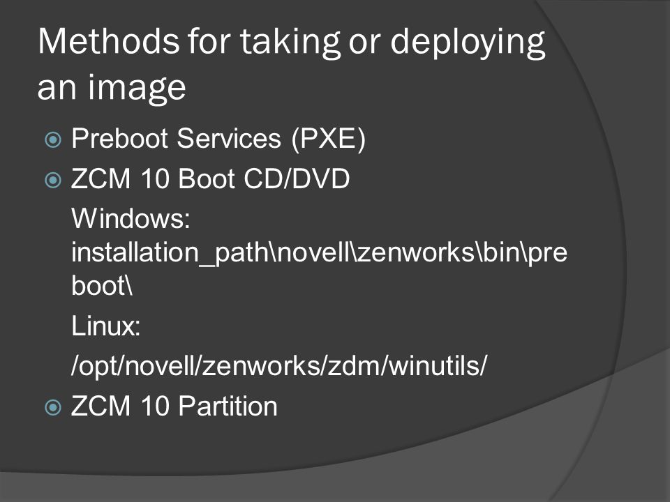 Methods for taking or deploying an image