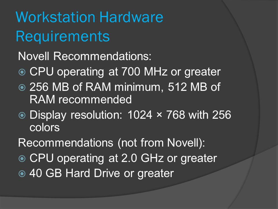 Workstation Hardware Requirements