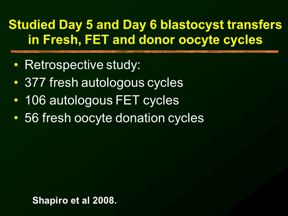 377 fresh autologous cycles 106 autologous FET cycles
