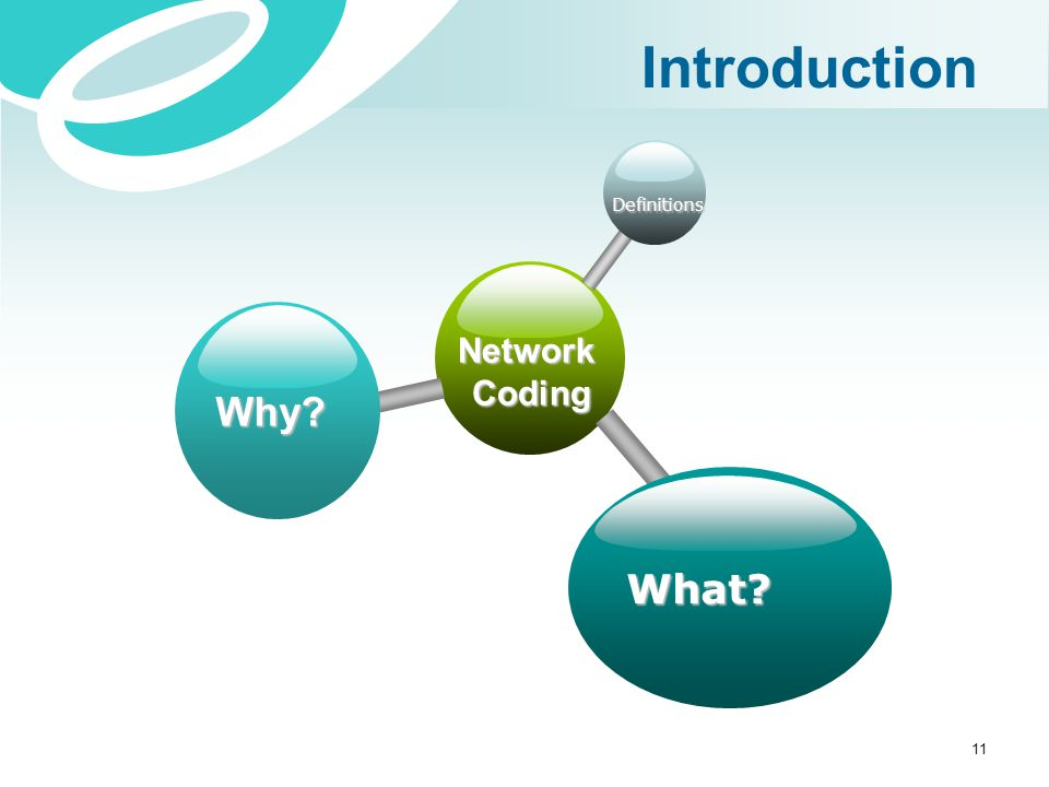 Introduction Definitions Network Coding Why What