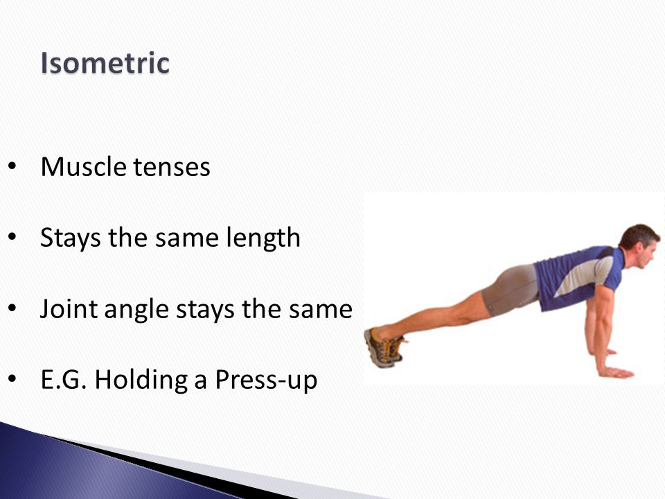 Isometric Muscle tenses Stays the same length