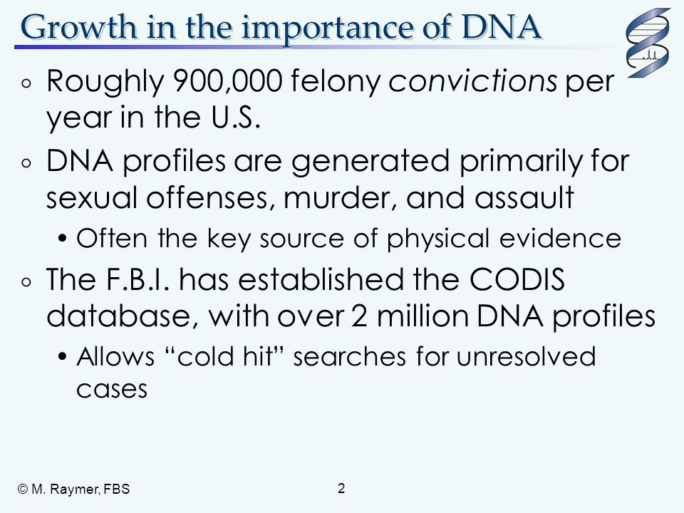Growth in the importance of DNA
