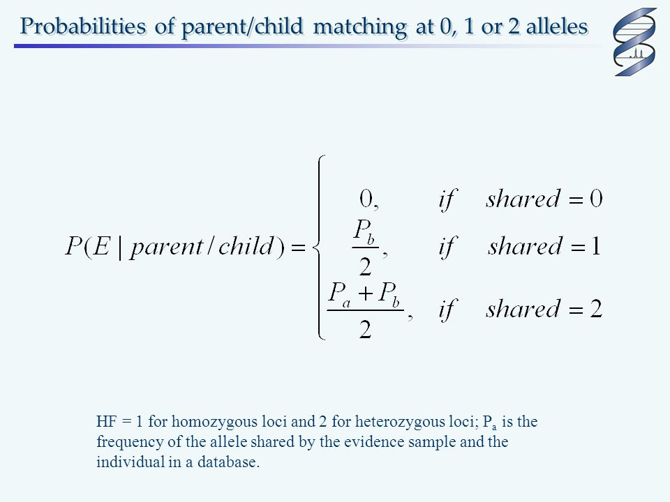 Probabilities of parent/child matching at 0, 1 or 2 alleles