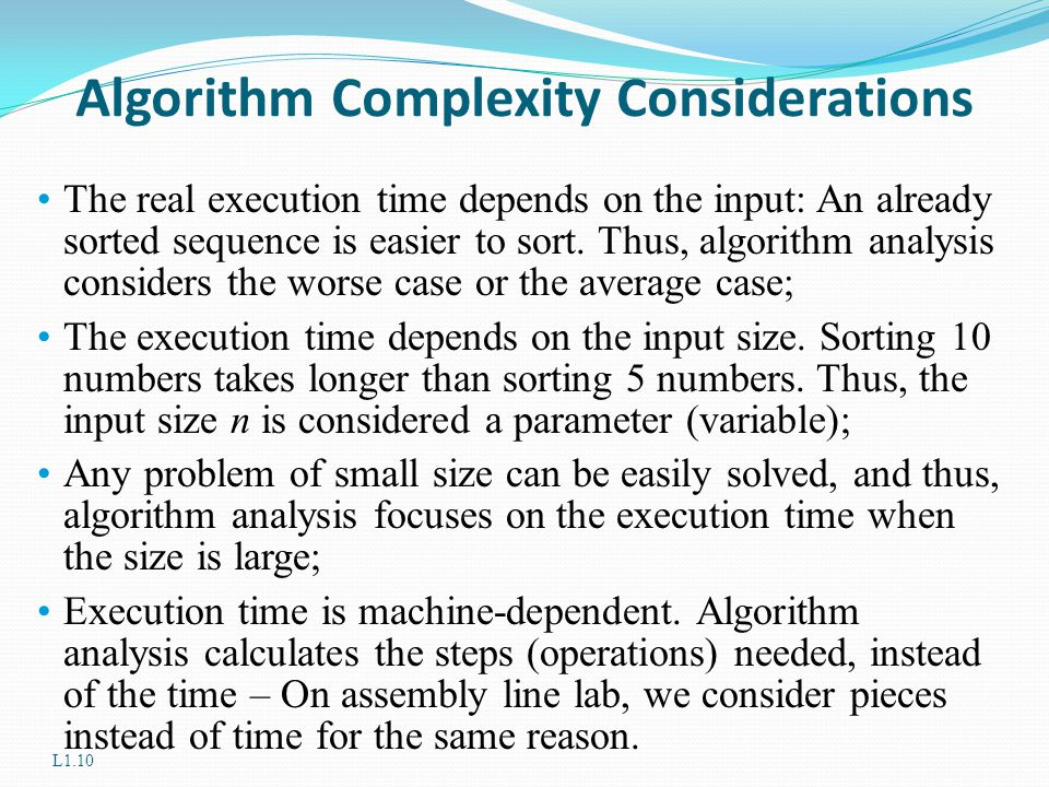 Algorithm Complexity Considerations