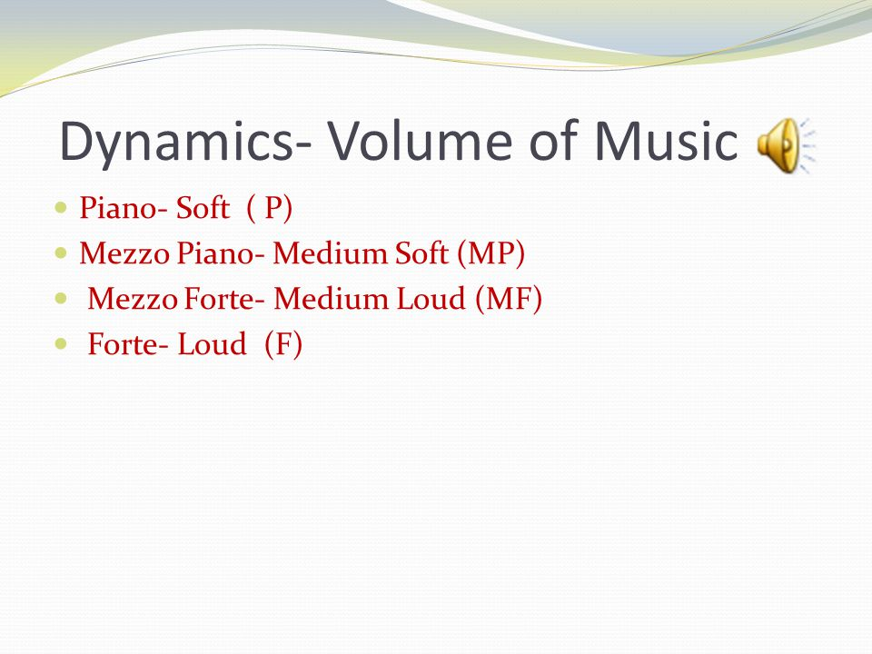 Dynamics- Volume of Music