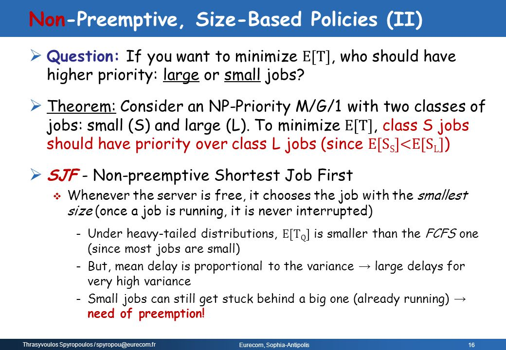 Non-Preemptive, Size-Based Policies (II)