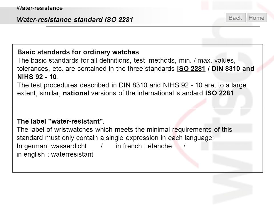 Water-resistance standard ISO 2281