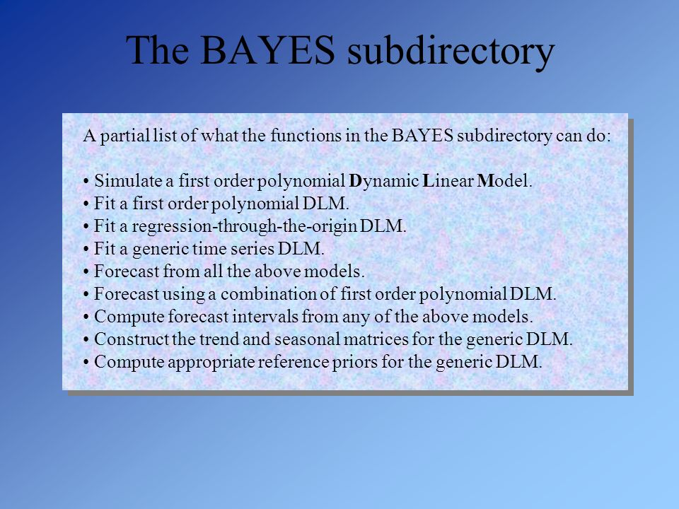 The BAYES subdirectory