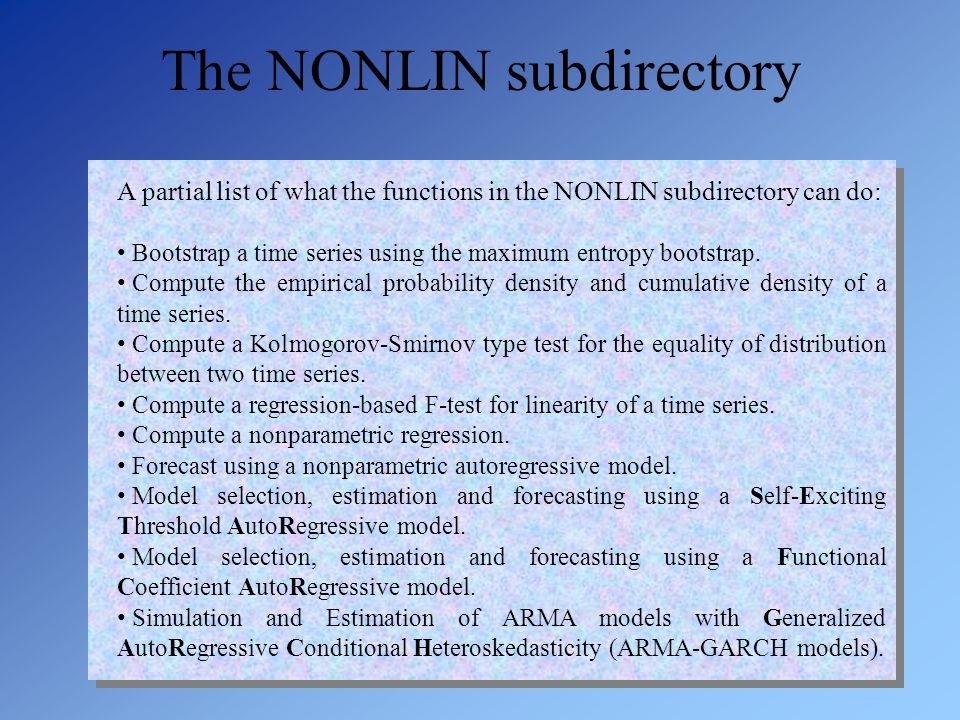 The NONLIN subdirectory