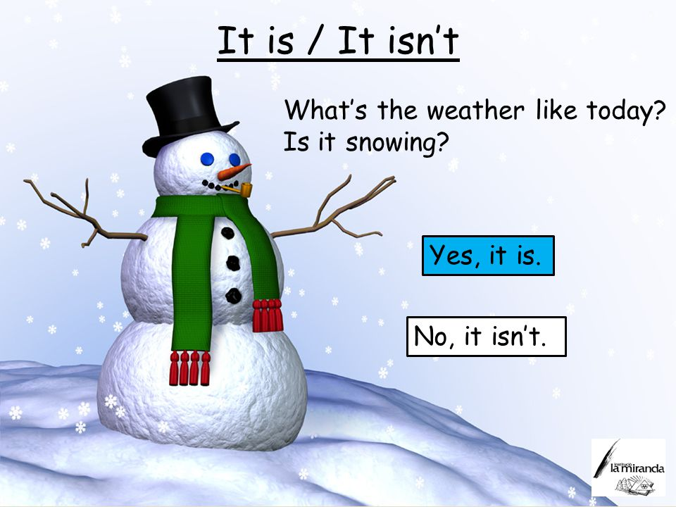 It is / It isn't What's the weather like today Is it snowing