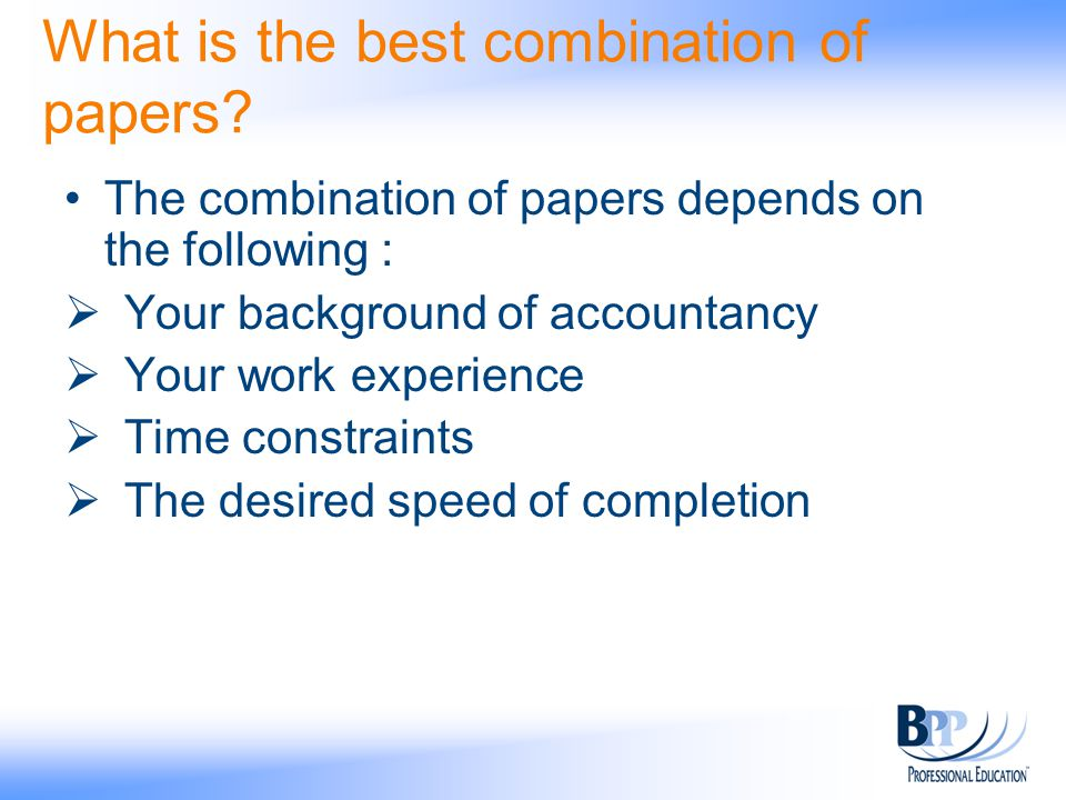 Choosing the right combination of ACCA Papers - ppt video