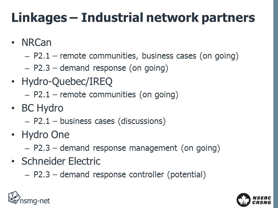 Linkages – Industrial network partners