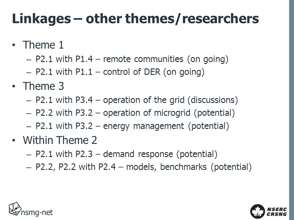 Linkages – other themes/researchers