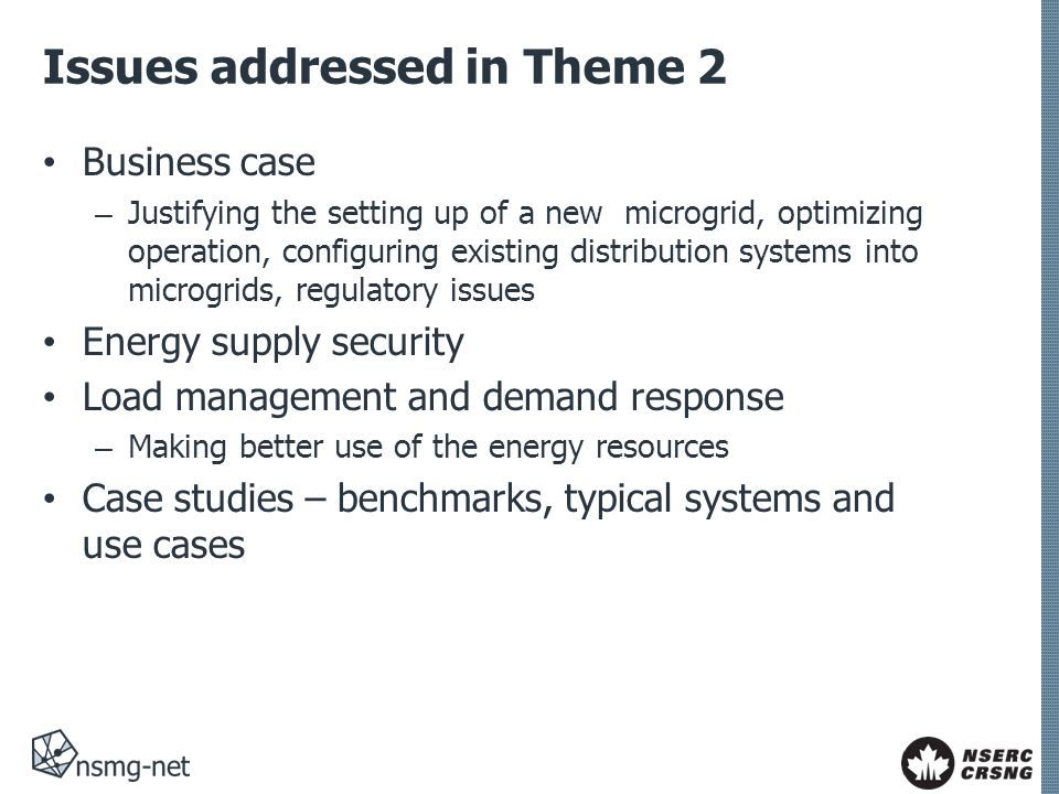 Issues addressed in Theme 2