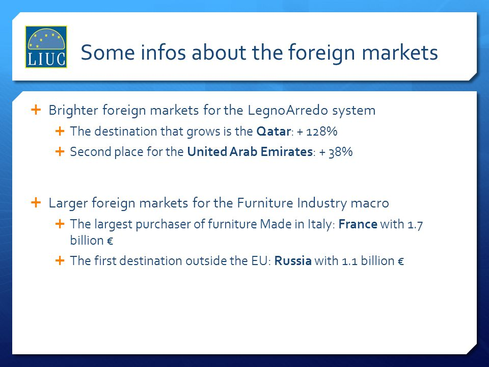 Some infos about the foreign markets